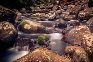 Slow, milky water achieved with small aperture and long shutter speed. ISO 100, f/11 @ 30s